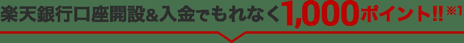 楽天銀行口座開設&入金でもれなく1,000ポイント!!