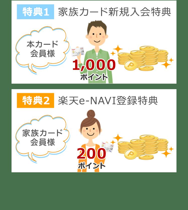 特典1 家族カード新規入会特典 特典2 楽天e-NAVI登録特典