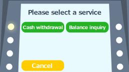 Cash withdrawal(現金引き出し)を選択。