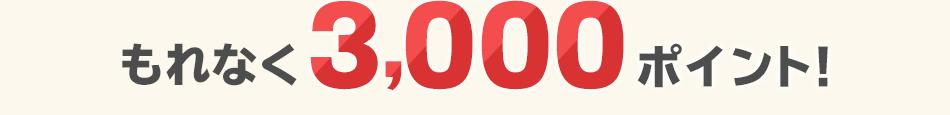 もれなく3,000ポイント進呈