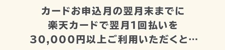 カードお申し込み月の翌月末までに楽天カードで翌月1回払いを30,000円以上ご利用いただくと…