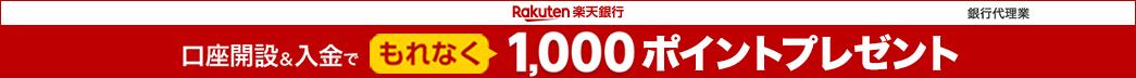 楽天銀行口座を新規開設で1,000ポイントプレゼント