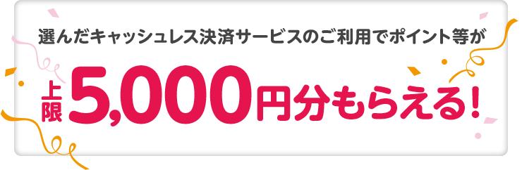 選んだキャッシュレス決済サービスのご利用でポイント等が上限5,000円分もらえる!