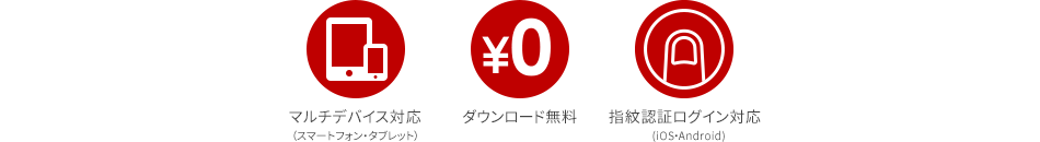 マルチデバイス対応(スマートフォン・タブレット) ダウンロード無料 指紋認証ログイン対応(iOS・Android)