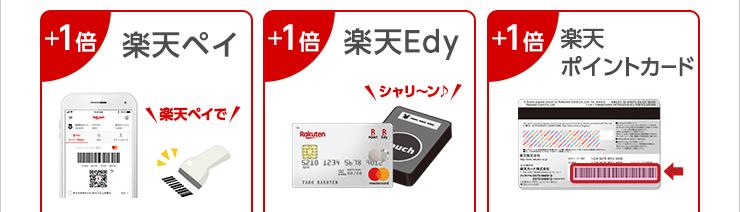 +1倍:楽天ペイ +1倍:楽天Edy +1倍:楽天ポイントカード
