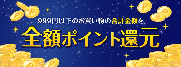 999円以下のお買い物の合計金額を全額ポイント還元