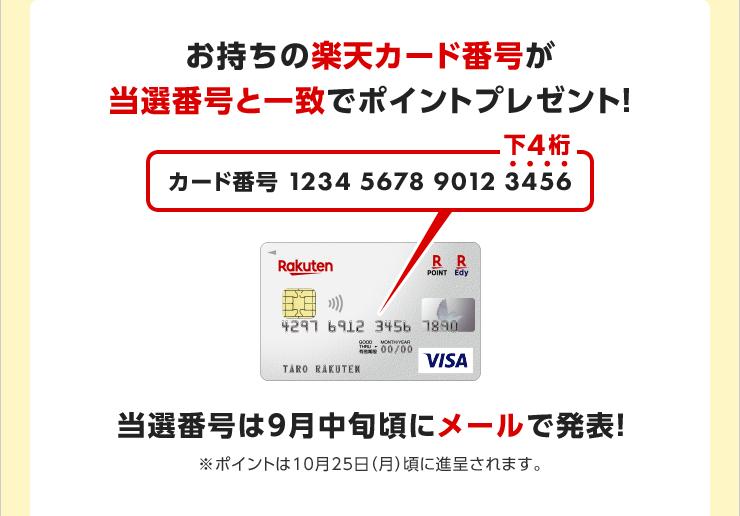 お持ちの楽天カード番号が当選番号と一致でポイントプレゼント!当選番号は9月中旬頃にメールで発表!※ポイントは10月25日(月)頃に進呈されます。