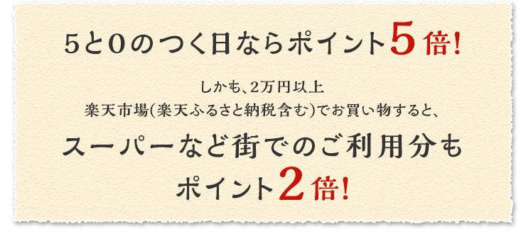 5と0のつく日ならポイント5倍! しかも、2万円以上楽天市場(楽天ふるさと納税含む)でお買い物すると、スーパーなど街でのご利用分もポイント2倍!