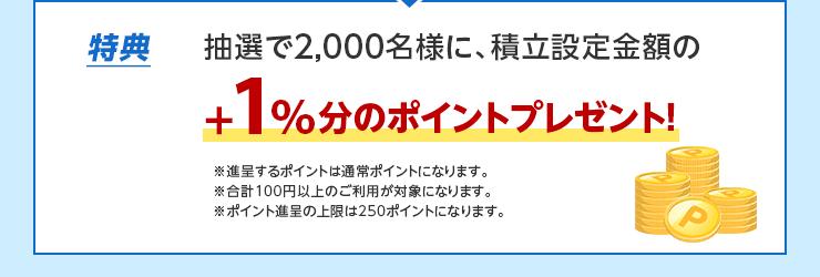 特典 抽選で2,000名様に、積立設定金額の+1%分のポイントプレゼント! ※進呈するポイントは期間限定ポイントになります。※合計100円以上のご利用が対象になります。※ポイント進呈の上限は250ポイントになります。