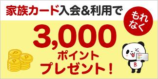 家族カード入会&利用でもれなく3,000ポイントプレゼント!