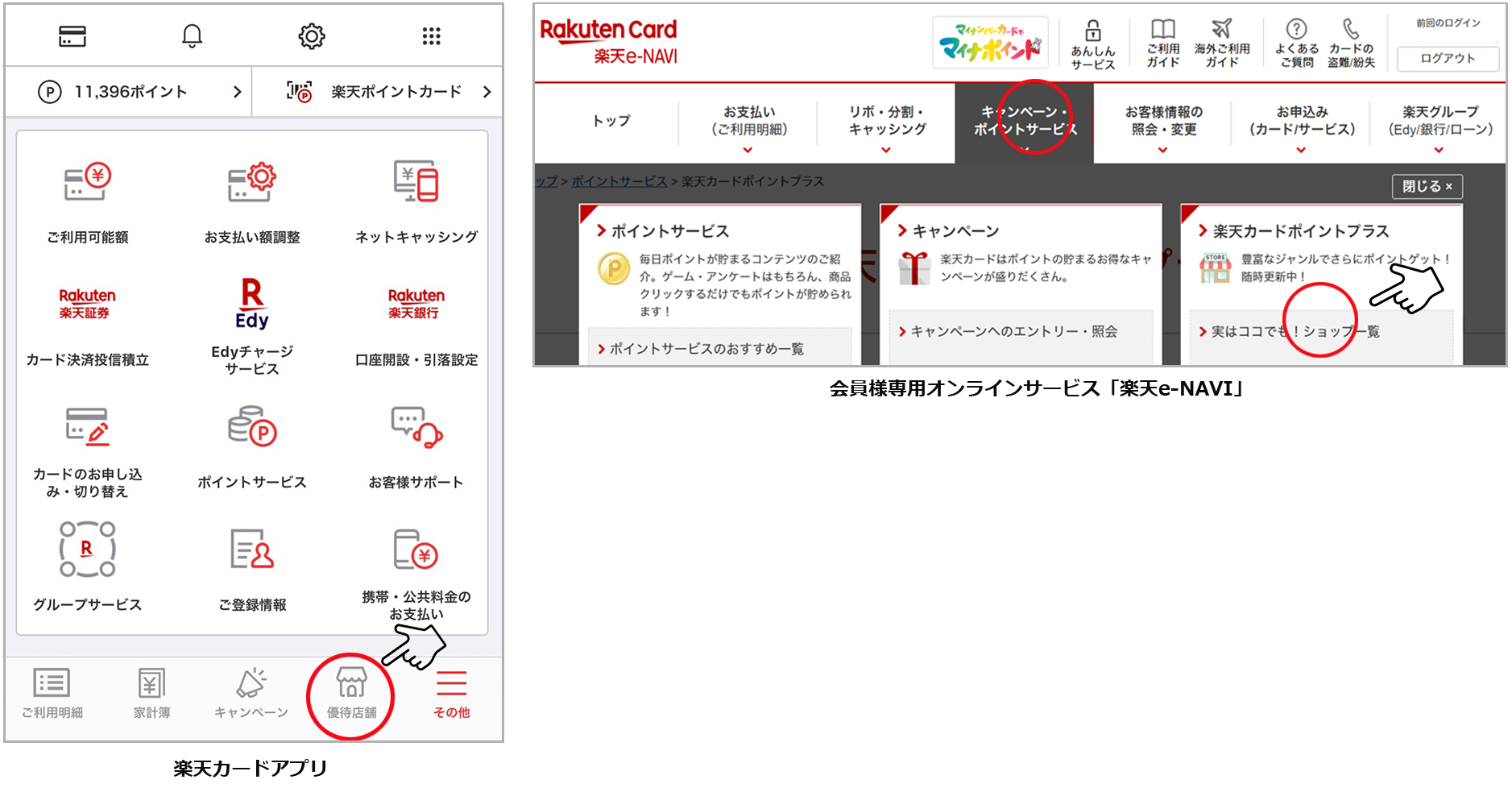 楽天カードアプリ内の「優待店舗」、会員様専用オンラインサービス「楽天e-NAVI」説明画像