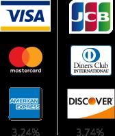 visa  Mastercard  AMERICAN EXPRESS  3.24% | JCB  Diners Club  DISCOVER  3.74%