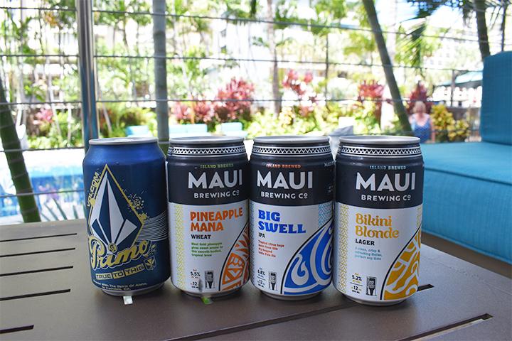 ハワイの伝統を受け継ぐプレミアムラガー「PRIMO」から、定番のマウイブリューイングシリーズまで、ビールの種類も充実