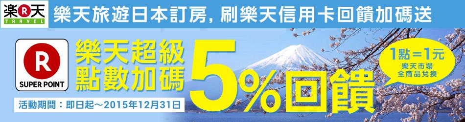 樂天旅遊日本訂房,刷樂天信用卡回饋加碼送 樂天超級點數加碼 5%回饋 1點=1元 樂天市場全商品兌換