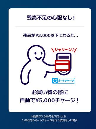 残高不足の心配なし!残高が¥3,000以下になると...お買い物の際に自動で¥5,000チャージ!※残高が3,000円を下回ったら、5,000円のオートチャージを行う設定をした場合